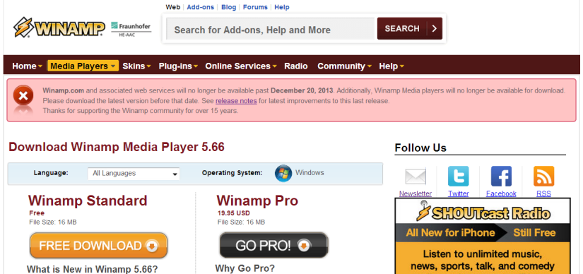 winamp-discontinued